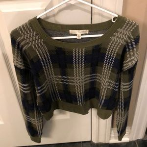 Plaid knitted cropped sweater